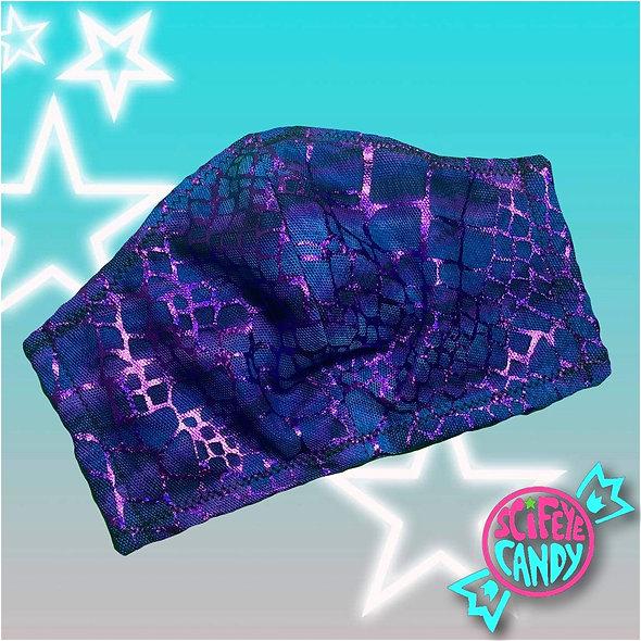 Purple and Blue Metallic Animal Print Non-Medical Cloth Face Mask