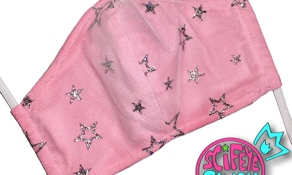 Pink Glitter Star Mesh Cloth Dust Mask