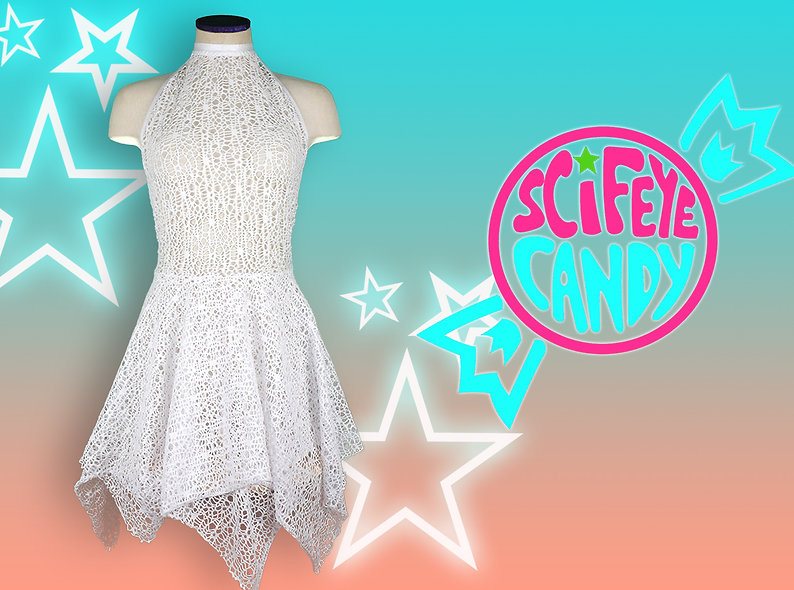 White High-Neck Lace Dress by SciFeyeCandy
