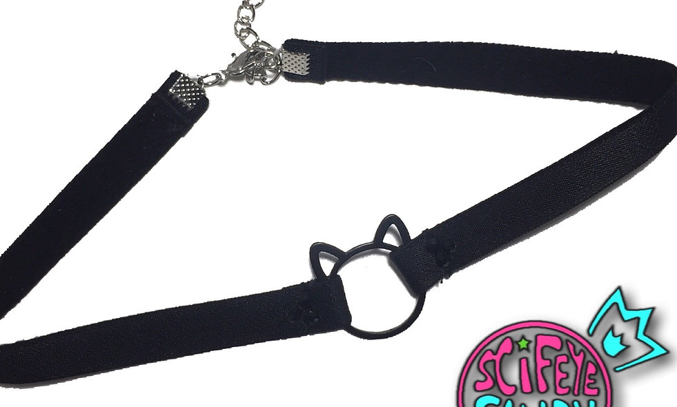 Lucky Black Cat Ring Collar by SciFeyeCandy
