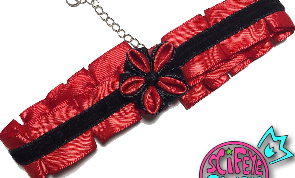 Red and Black Kanzashi Ribbon Flower Choker by SciFeyeCandy
