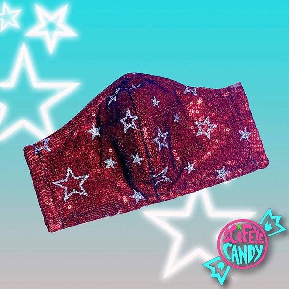 Red Sequin Glitter Star Mesh Non-Medical Cloth Face Mask