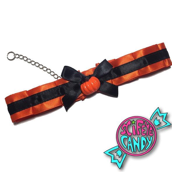 Orange and Black Halloween Pumpkin Day-Collar by SciFeyeCandy