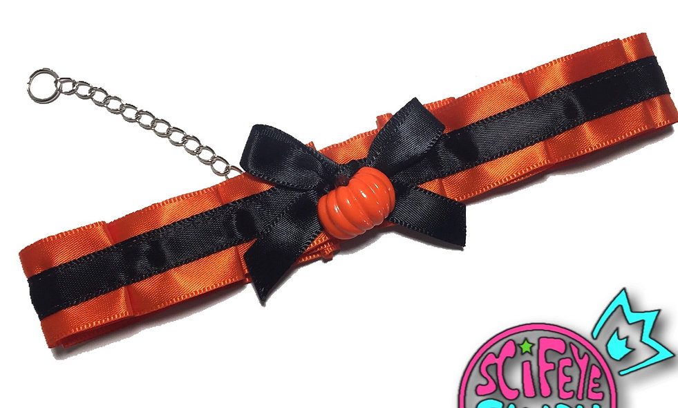 Orange and Black Halloween Pumpkin Day-Collar by SciFeyeCandy