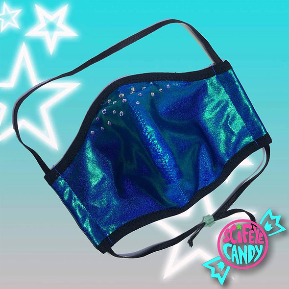 Aurora Turquoise Crystal Rhinestone Non-Medical Cloth Mask