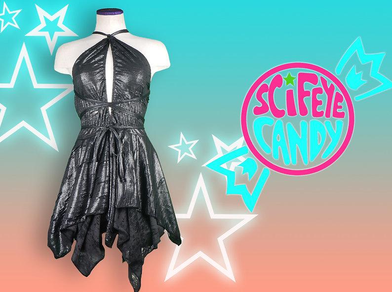 Distressed Metallic Black Faerie Dress by SciFeyeCandy