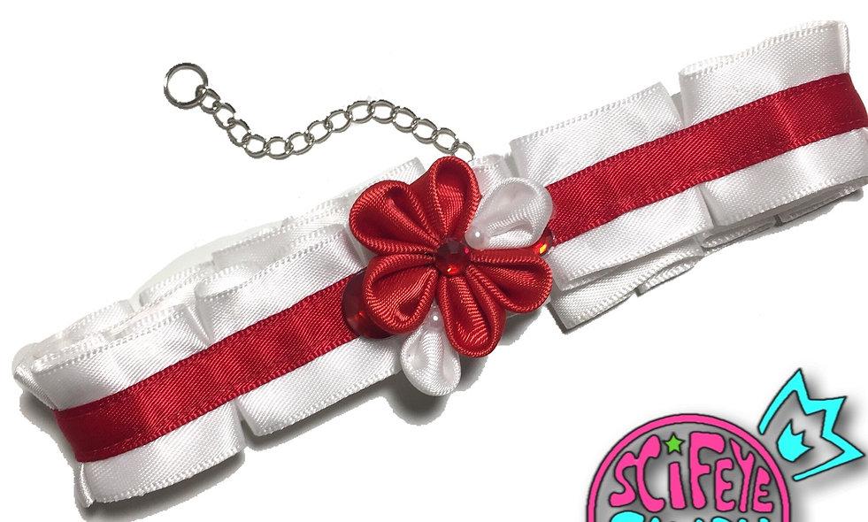 White and Red Kanzashi Ribbon Flower Choker by SciFeyeCandy