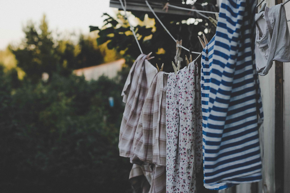 Washing hanging on a clothesline