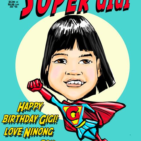 GIGI SUPER GIRL Caricature Sample Socaltoons.com