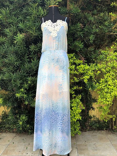 Vestido animal print azul Le Ricaro