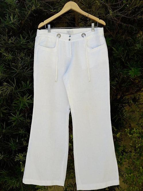 Calça pantalona de linho Le Lis Blanc