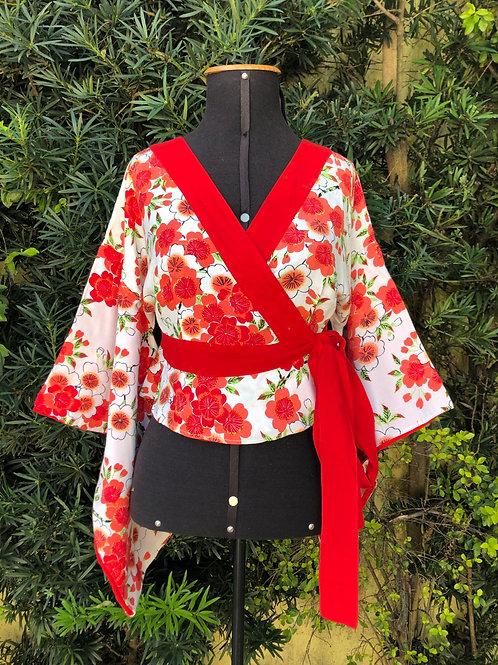 Kimono flores vermelhas Lucy