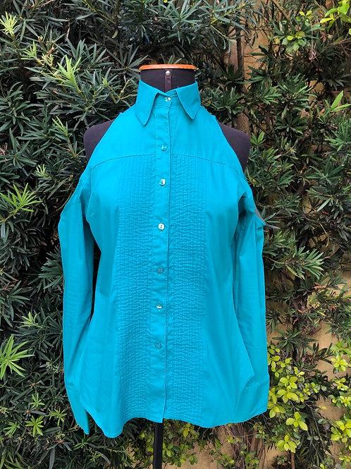 Camisa verde ombros de fora