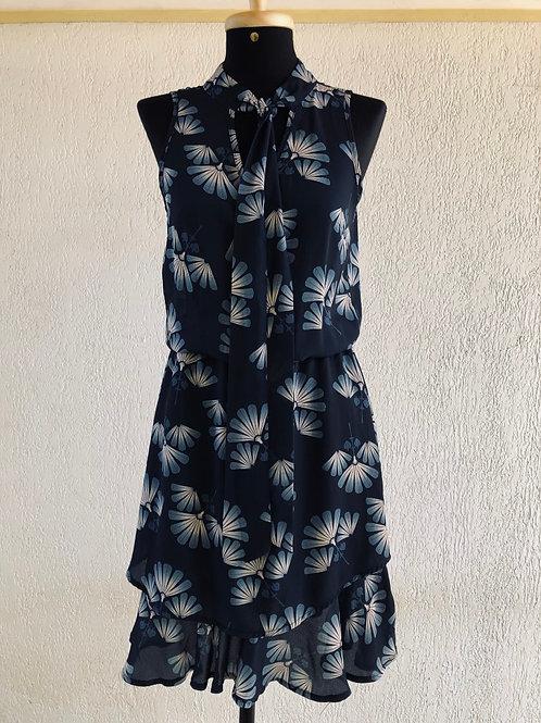 Vestido marinho c/estampa de flores Yessica