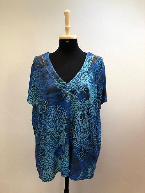 Blusinha azul c/detalhes em tule Madrepérola