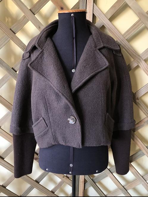 Casaquinho cropped de lã Shoulder
