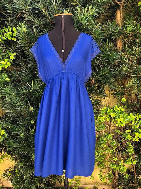 Vestido azul decote V Zara Trafaluc