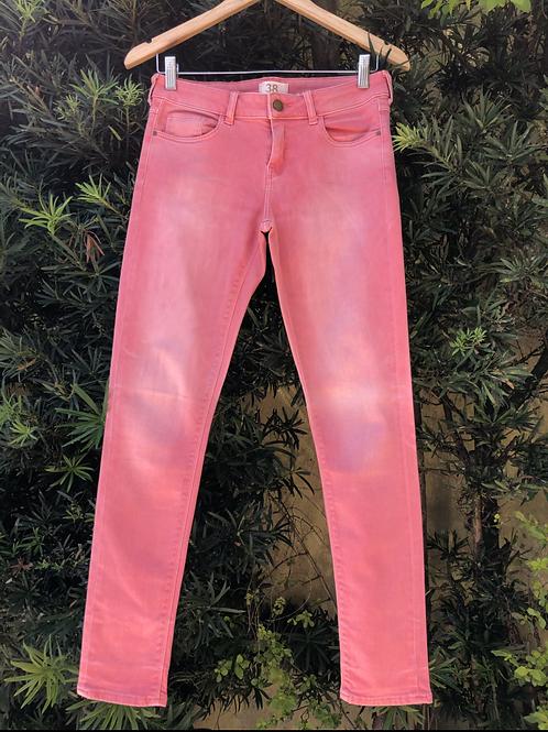 Calça jeans vermelha Zara Basic