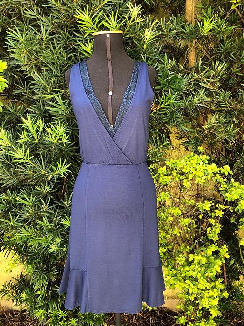 Vestido de alça azul marinho Dzarm. Lindo!!!