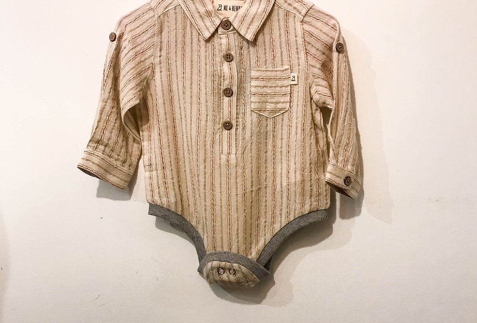 Me and Henry - Red/Beige Plaid Woven Onesie