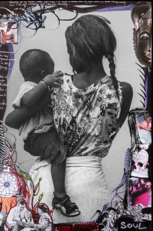 "Delphine Diallo, collage ""Save the children"" sur Kelen, promotion de l'art africain"