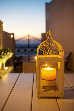 Candle in courtyard