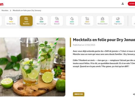"""2021 - Auchan International - Article de Blog - """"Mocktails en Folie pour Dry January""""."""