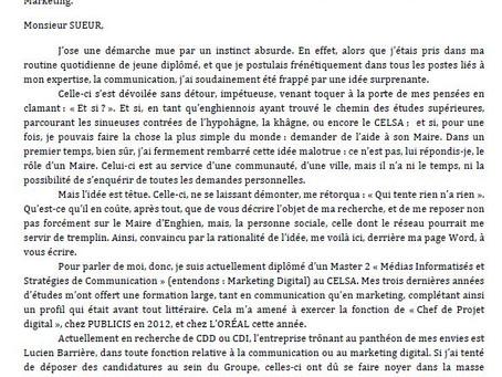 2014- Lettre au Maire d'Enghien