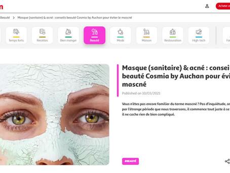 """2021 - Auchan International - Article de Blog - """"Conseils beauté pour éviter le mascné""""."""
