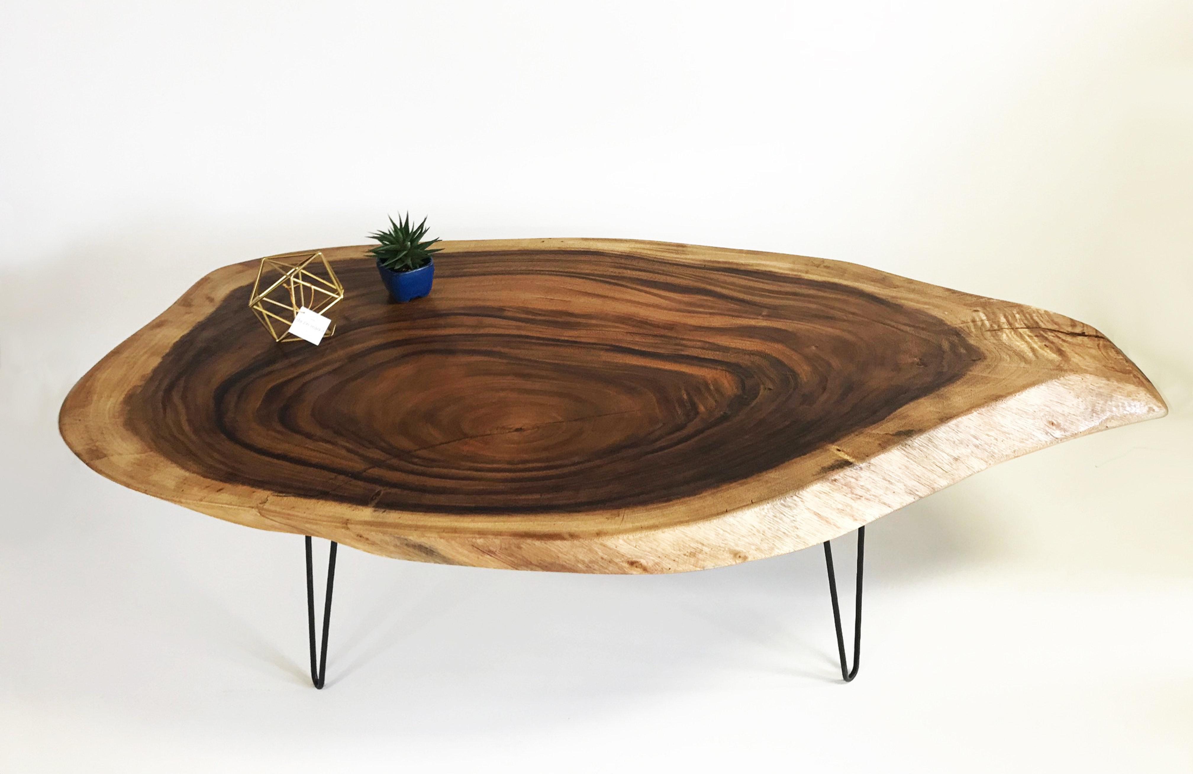 3 Live Edge Solid Acacia Wood Coffee Table Boxworkshop