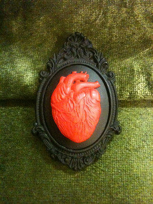 Anatomical Hearts in Red and Black Brooch
