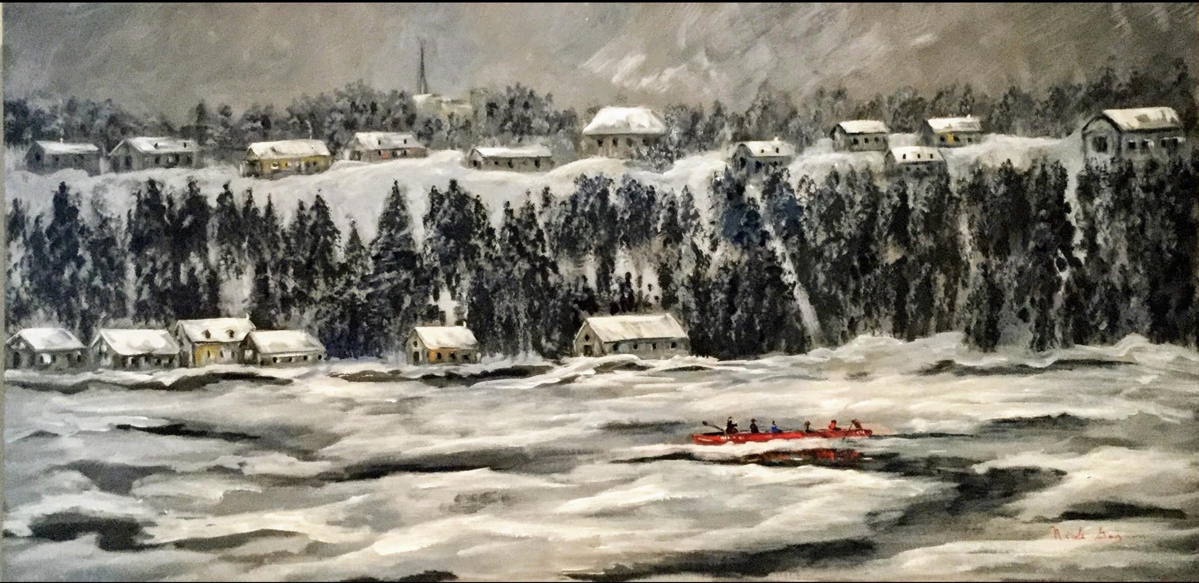 En préparation de la course de canot