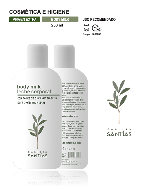 Body milk con AOVE (250 ml) Gast. envío Incl.
