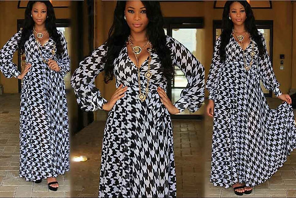 'Houndstooth' Maxi Dress