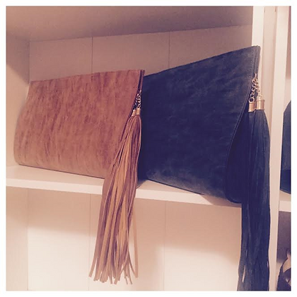 Fringe Suede Clutch