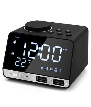 Inlife K11 Bluetooth 4.2 Radio Alarm Clock Speaker with 2 USB Ports