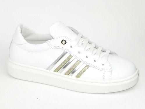 MORELLI/51247/sneaker wit strepen goud en zilver