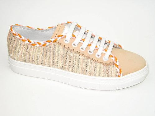 JARRETT/J3SN427A/sneaker zalm acc oranje gevlochten acc aan veters