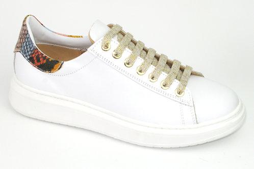 CHERIE/8158/sneaker wit acc multikleuren op hiel