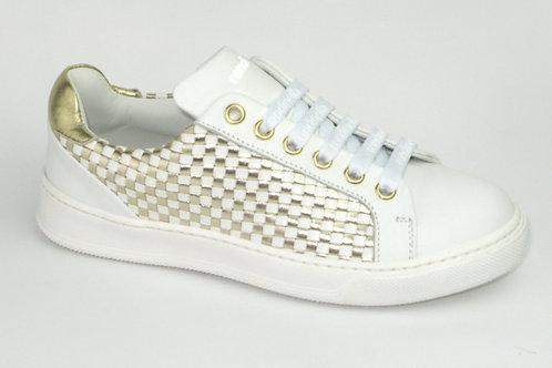 RONDINELLA/11893/sneaker wit geweven accent goud