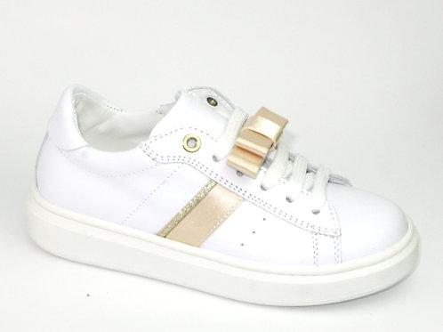 MORELLI/51219/sneaker wit streep goud afneembare strik