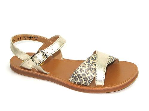 POM D'API/plagette tek /sandaal goud acc luipaard