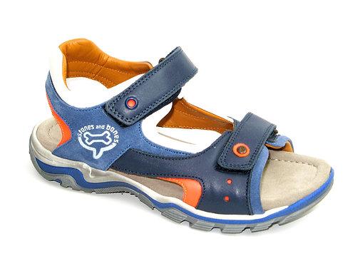 STONESANDBONES/junto/sandaal sport blauw accent fluo oranje