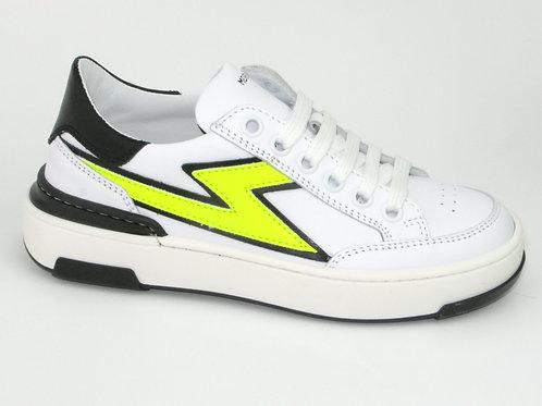 MORELLI/51306/sneaker wit  fluor gele bliksem
