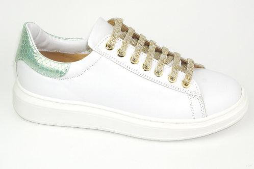 CHERIE/8158/sneaker wit acc muntgroen op hiel
