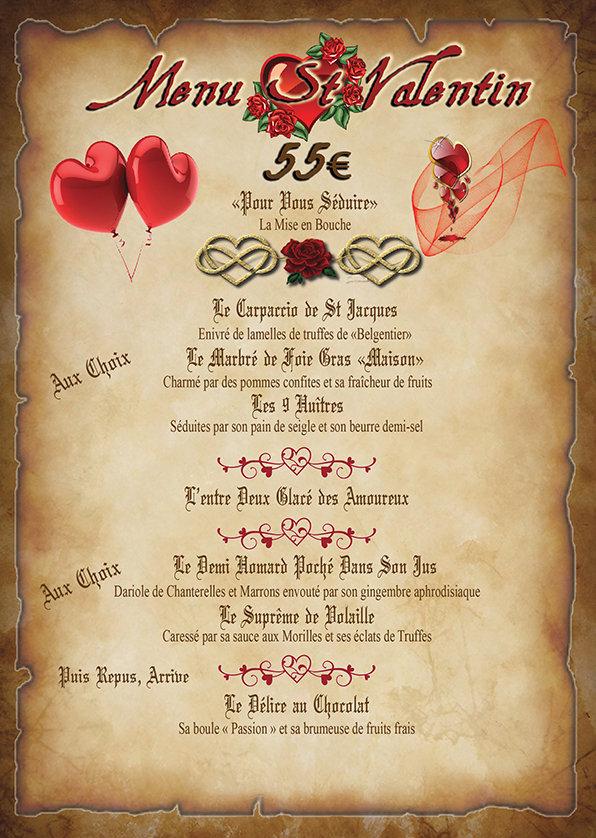Menu La taverne Royale St Valentin 2020.
