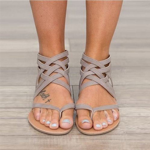 Women Sandals Fashion Gladiator Flat Sandals Rome Style Cross Tied