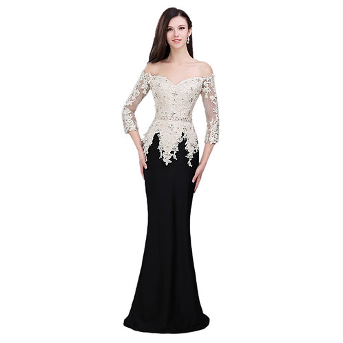 Elegant Evening Dress Mermaid Lace Up Applique Beading Boat Neck Formal