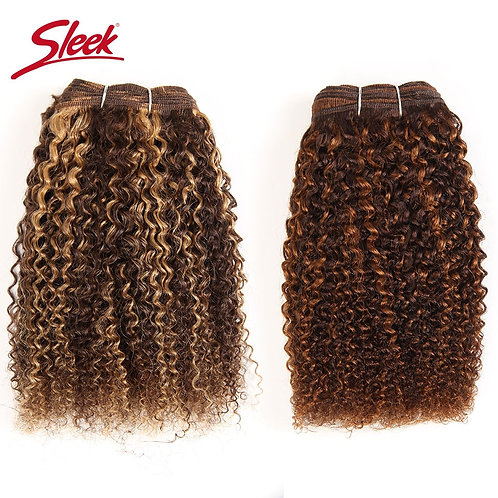 Sleek Afro Kinky Weave Curly Hair 1 Piece Ombre Mongolian Human Hair