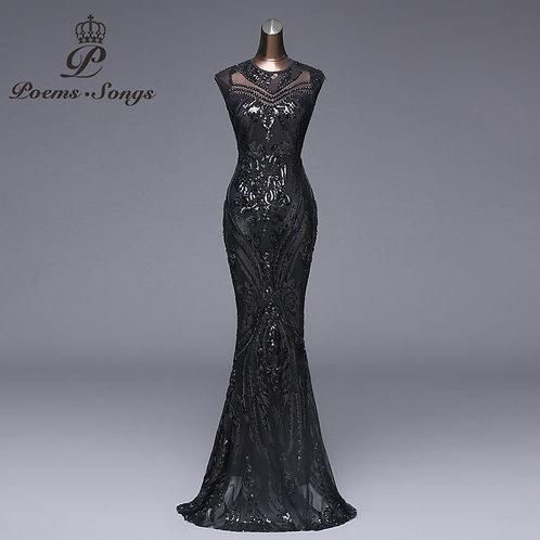 Poems Songs Elegant Long Black Sequin Evening Dress